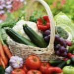 Organic Gardening basket of vegetables and fruit