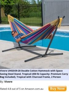 double cotton striped coloured hammock